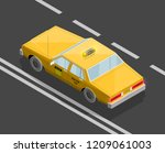 flat 3d isometric yellow taxi... | Shutterstock .eps vector #1209061003