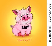cute funny pig. happy new year. ... | Shutterstock . vector #1209064093