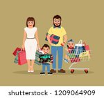 young and excited family ... | Shutterstock .eps vector #1209064909