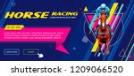 Stock vector banner universal template for a web site with text buttons jockey on horse horse racing 1209066520