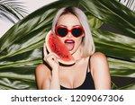 hot girl with blonde hair...   Shutterstock . vector #1209067306