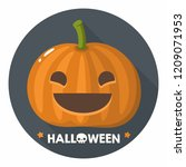 vector halloween pumpkin icon.... | Shutterstock .eps vector #1209071953