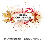 christmas card with holly and... | Shutterstock .eps vector #1209075439
