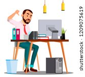angry boss in suit sitting at... | Shutterstock .eps vector #1209075619