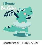 funny dinosaur ballerina | Shutterstock .eps vector #1209077029