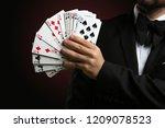 male magician showing tricks... | Shutterstock . vector #1209078523
