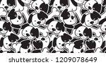 Stock vector dog seamless pattern vector french bulldog dachshund puppy head bone scarf isolated cartoon 1209078649