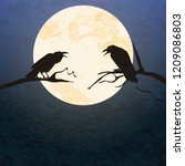 Illustrated Crows In Front Of...