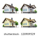 four detailed wooden cottages... | Shutterstock .eps vector #120909529