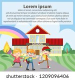 goes to school flat... | Shutterstock .eps vector #1209096406