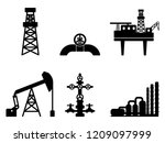 graphic black flat set of oil... | Shutterstock .eps vector #1209097999