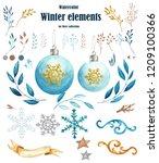 watercolor winter elements ... | Shutterstock . vector #1209100366