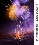firework rockets flying into...   Shutterstock . vector #1209105346
