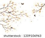 autumn season with falling... | Shutterstock .eps vector #1209106963