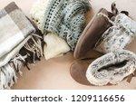warm home clothes. warm woolen... | Shutterstock . vector #1209116656