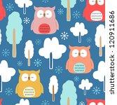 seamless owl pattern. | Shutterstock .eps vector #120911686