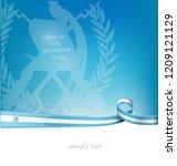 guatemala ribbon flag on blue...   Shutterstock .eps vector #1209121129