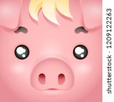square cute swine pig character ... | Shutterstock .eps vector #1209122263