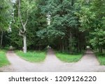 Small photo of Three forest roads converge into one or diverge point of three ways. Gatchina, Russia