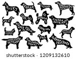 16 silhouettes with hand drawn... | Shutterstock .eps vector #1209132610