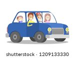 happy family in the blue car.... | Shutterstock .eps vector #1209133330