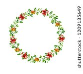 merry christmas  watercolor... | Shutterstock . vector #1209135649