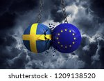 Sweden flag and European union political balls smash into each other. 3D Rendering