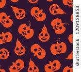 friendly orange pumpkin... | Shutterstock .eps vector #1209138853