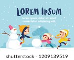 children building snowman... | Shutterstock .eps vector #1209139519