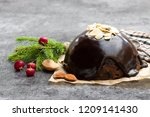 homemade  christmas pudding on...