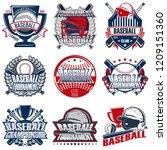 set of nine baseball badge ...   Shutterstock .eps vector #1209151360
