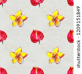 seamless pattern with tropical... | Shutterstock . vector #1209151849
