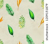 seamless pattern with tropical... | Shutterstock . vector #1209151879