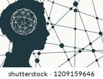 silhouette of a woman head.... | Shutterstock .eps vector #1209159646
