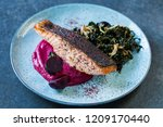 sumac spiced salmon with... | Shutterstock . vector #1209170440
