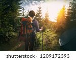 tourist girl stands near the... | Shutterstock . vector #1209172393
