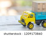 transport truck with wooden box ... | Shutterstock . vector #1209173860