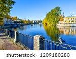 dove on autumn river embankment ...   Shutterstock . vector #1209180280