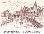 seville spain vector sketch... | Shutterstock .eps vector #1209183499