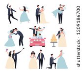 wedding couples. bride ceremony ... | Shutterstock .eps vector #1209186700