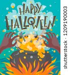 halloween poster with lettering ... | Shutterstock .eps vector #1209190003