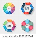 vector set of abstract 3d paper ... | Shutterstock .eps vector #1209199369