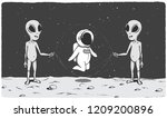 cute astronaut plays with...   Shutterstock .eps vector #1209200896