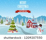 christmas landscape with... | Shutterstock .eps vector #1209207550