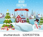 christmas landscape with... | Shutterstock .eps vector #1209207556
