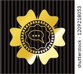speech bubble icon inside gold...   Shutterstock .eps vector #1209218053
