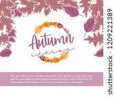 autumn season typography with... | Shutterstock .eps vector #1209221389