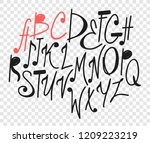 hand drawn music notes... | Shutterstock .eps vector #1209223219