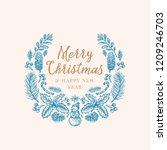 hand drawn christmas greetings... | Shutterstock .eps vector #1209246703