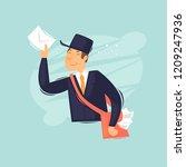 postman carries a letter. flat... | Shutterstock .eps vector #1209247936